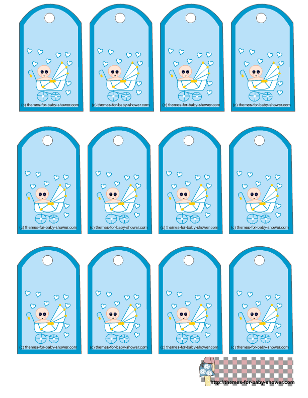 Free Printable Blue Baby Shower Favor Tags