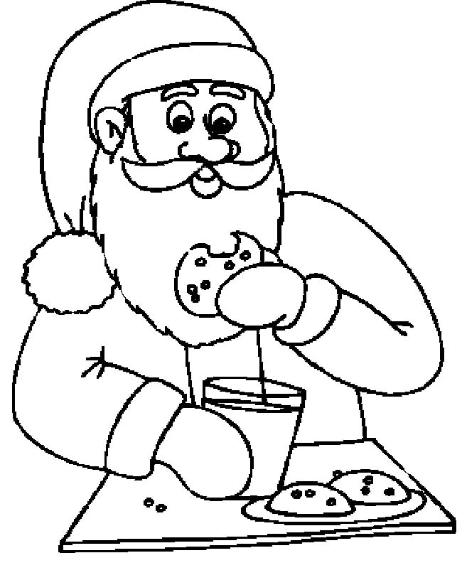 Santa Claus Eating Cookies And Drinking Milk Funny Cartoon Santa Claus