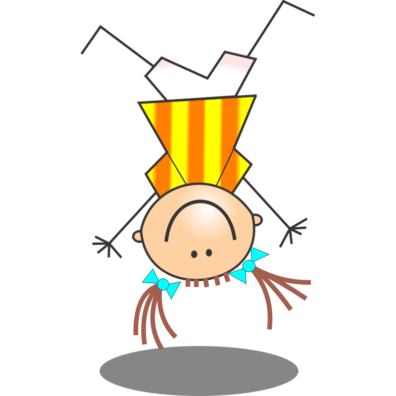 Clipart - Girl Stick Figure Doing Handstand