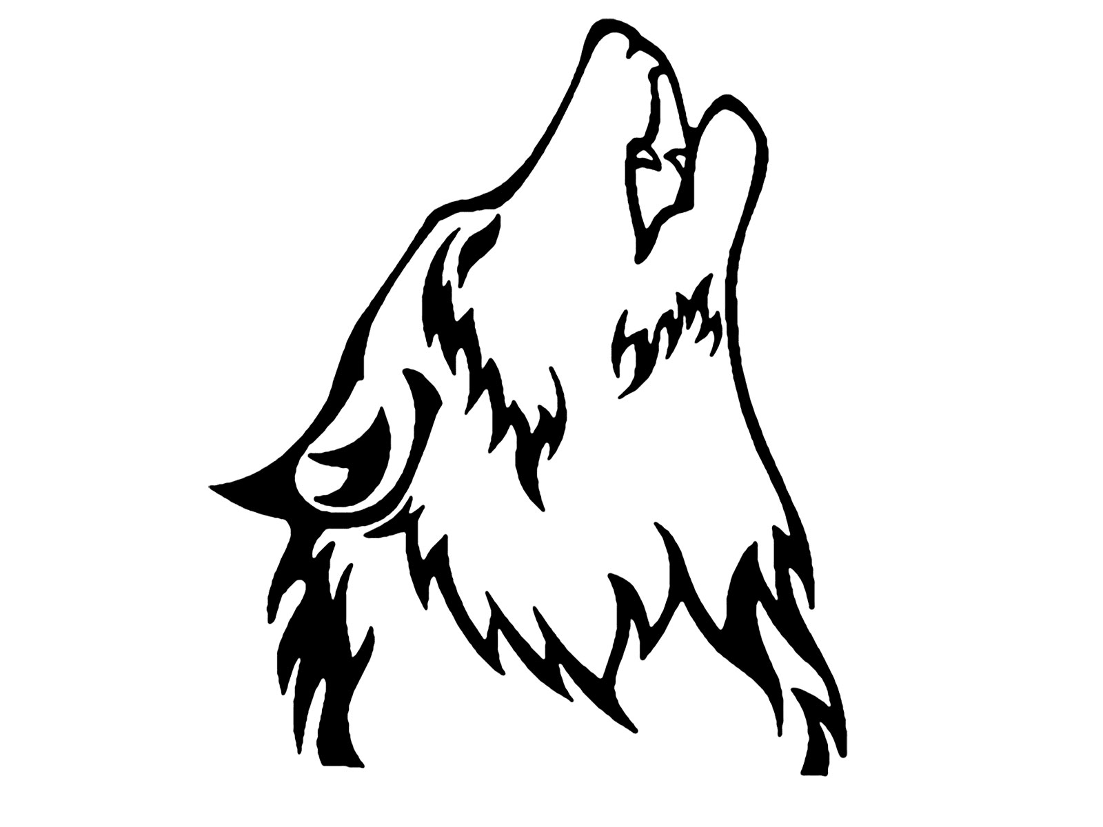 Line Art Dog Tattoo : Howling wolf clip art cliparts