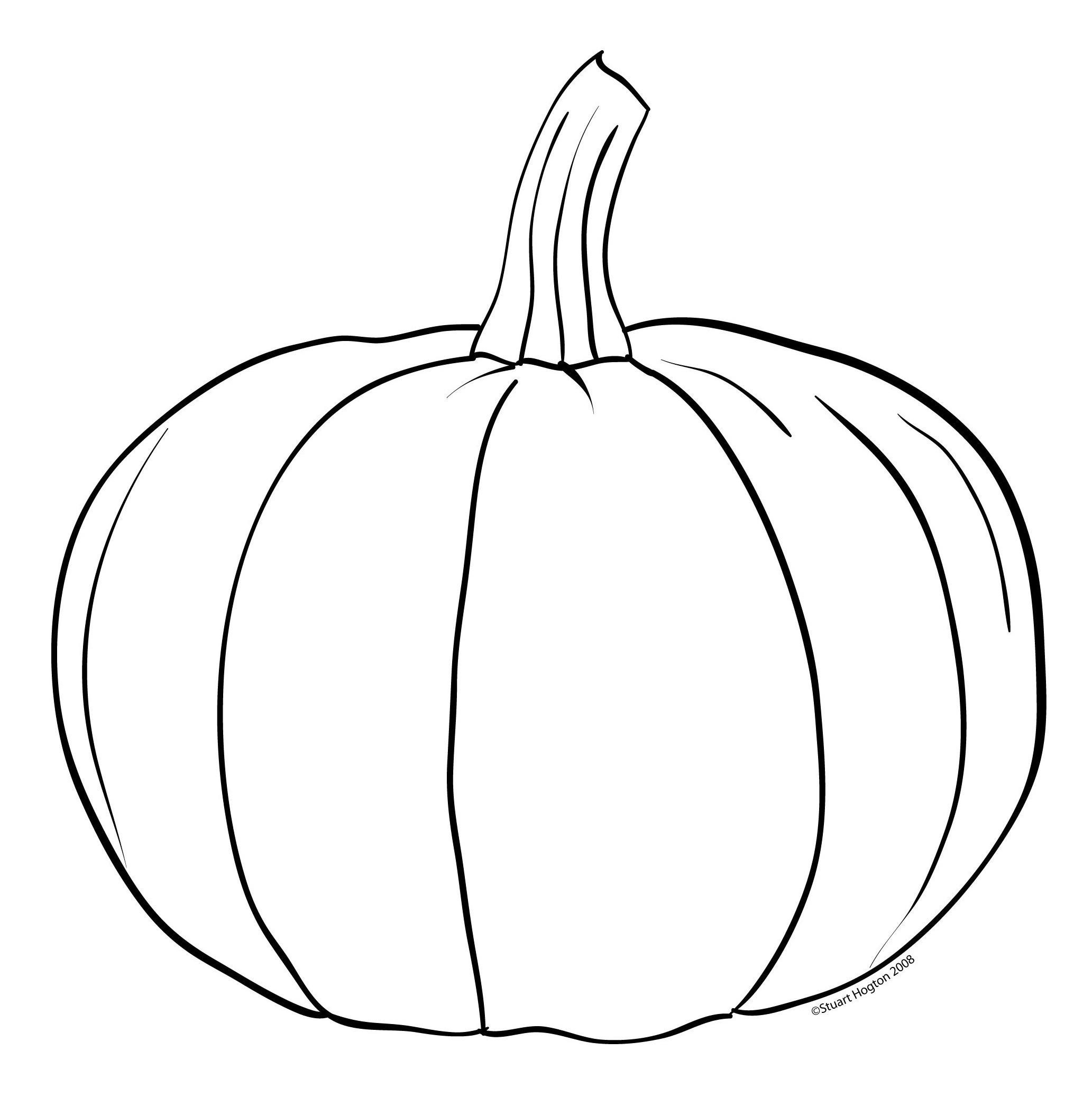 Pumpkin Line Drawing - ClipArt Tall Pumpkin Outline Clip Art