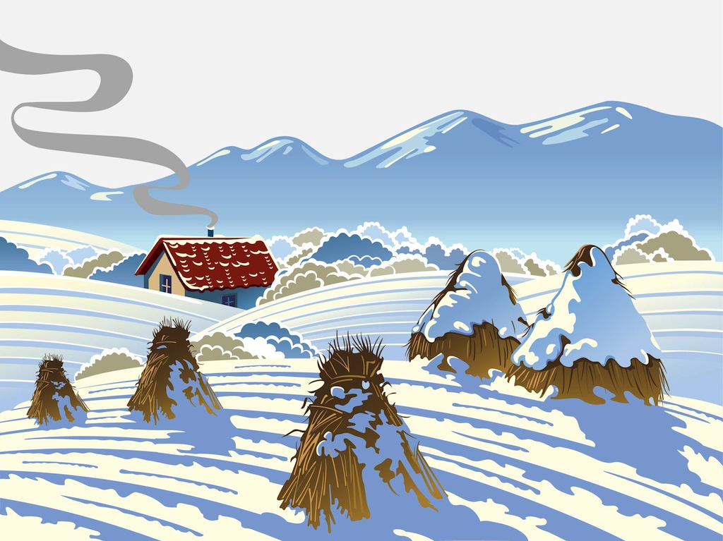 Backgrounds Textures Vector Free Country Farm Winter Scene