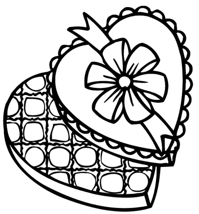 Chocolate Valentine Coloring Pages - Valentines Cartoon Coloring ...