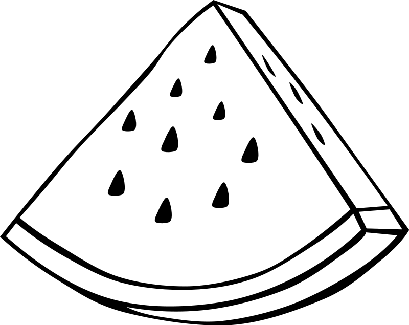 Watermelon Slice Coloring Page of a watermelon slice