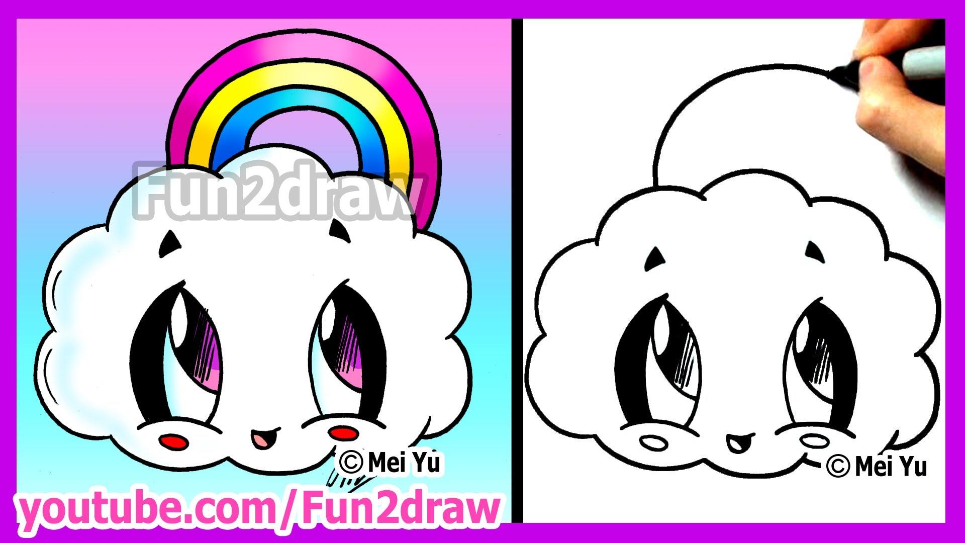 How To Draw Cartoons Rainbow Cloud Fun2draw Cute Easy Things