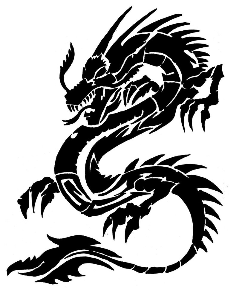 Line Drawing Dragon Tattoo : Chinese dragon cliparts