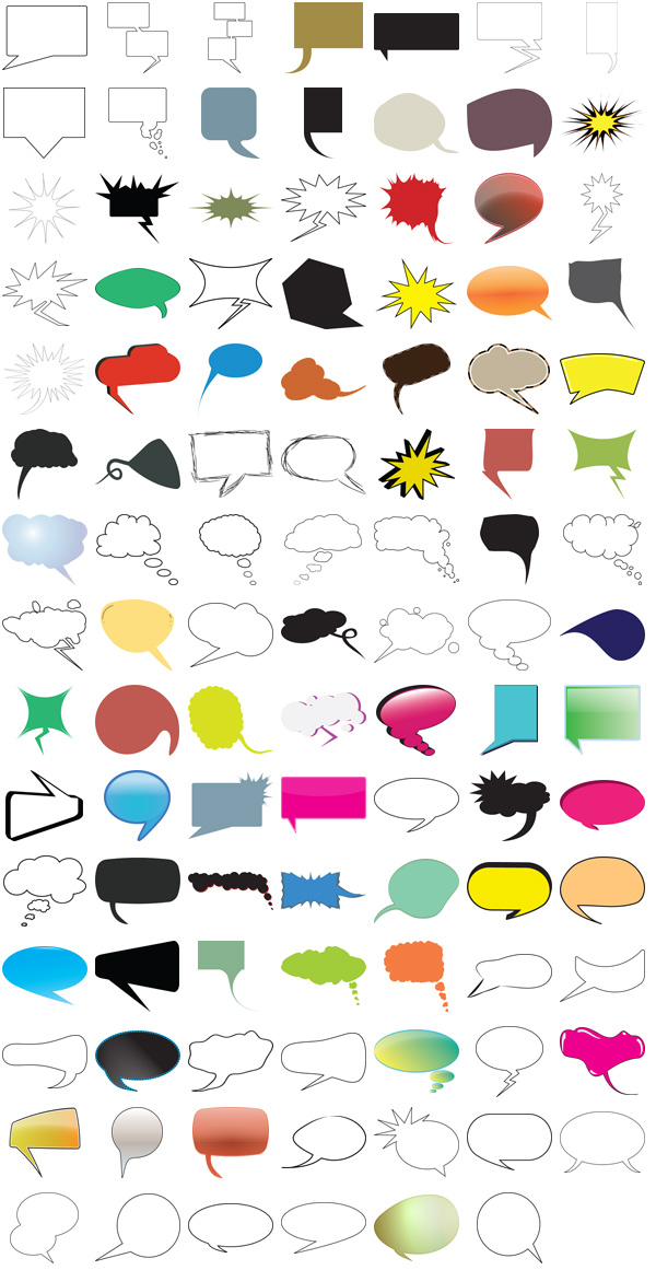 Thought and Speech Bubbles Pack – 104 Free Vectors and Images ...