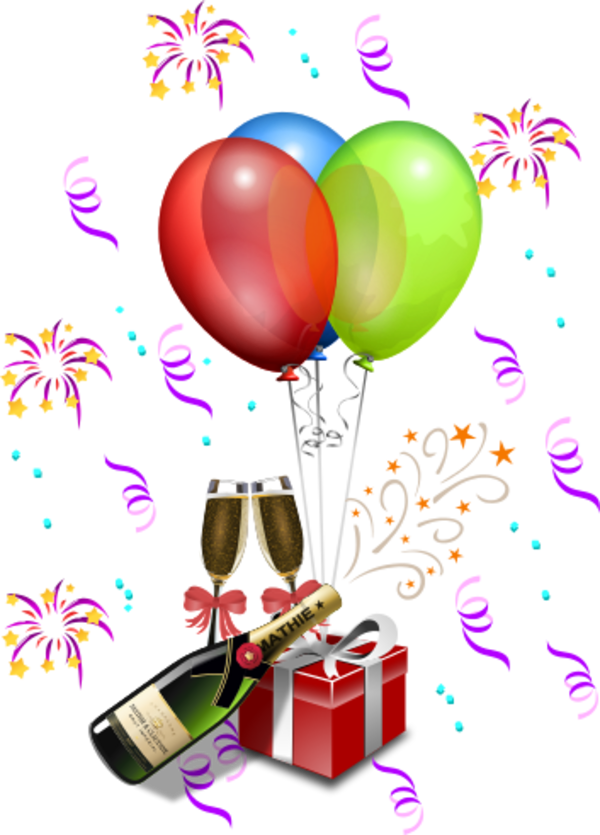 champagne with gift boxes and balloons vector clip art