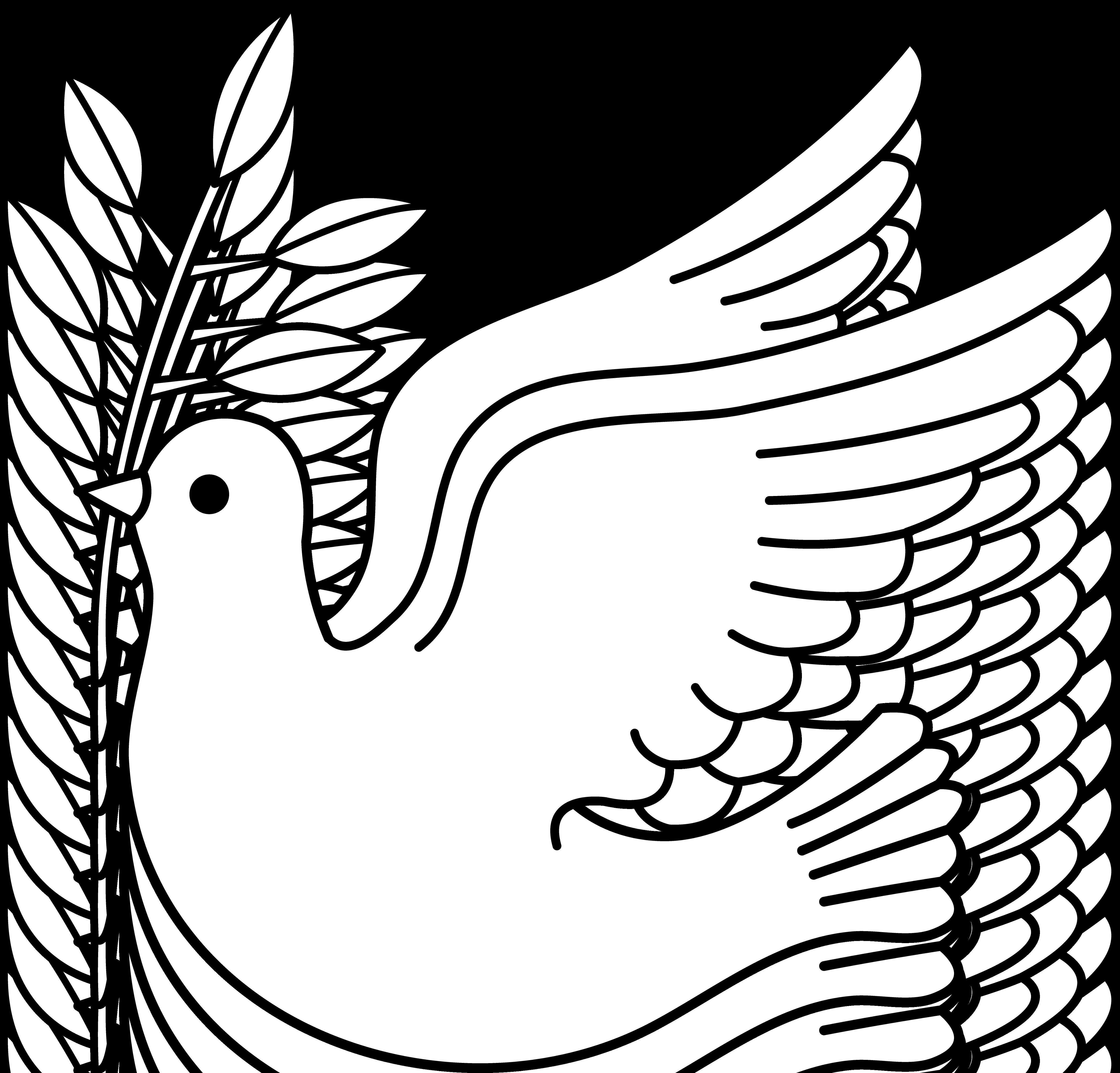 Peace Dove Line Art - Free Clip Art