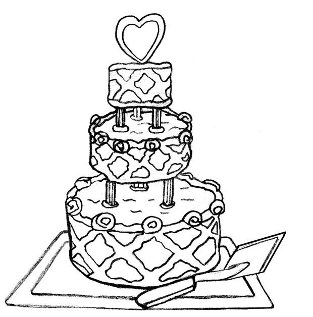 Vintage Wedding Cake Coloring Pages