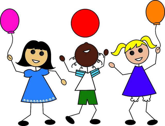 Clip Art Illustration of Cartoon Kids with Balloons | Flickr ...