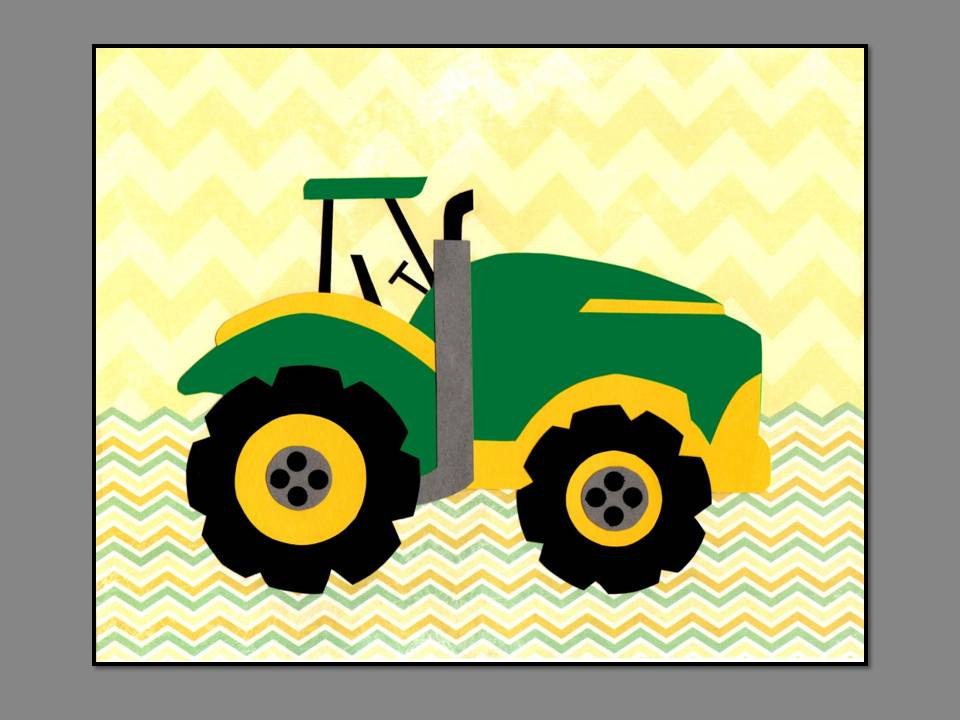 Cartoon john deere tractor for Tractor art projects