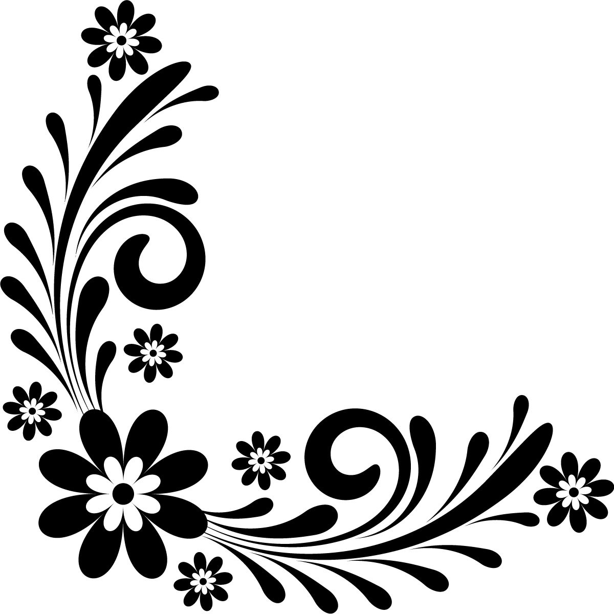 Line Drawing Flower Borders : Page border designs flowers black and white cliparts