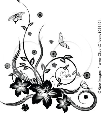 Page border designs flowers black and white cliparts graphics on pinterest clip art black and white and graphics fairy mightylinksfo