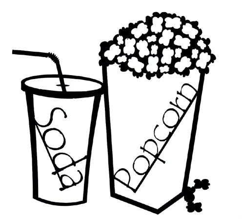 Popcorn And Soda Clip Art Black And White Cliparts Co