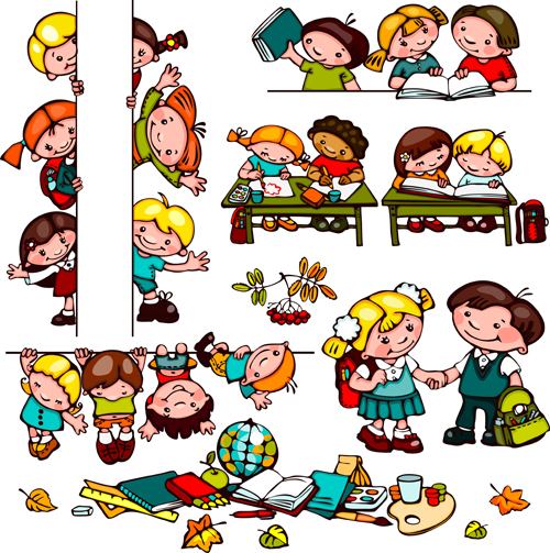 Cartoon school children cute design vector 04 - Vector Cartoon ...