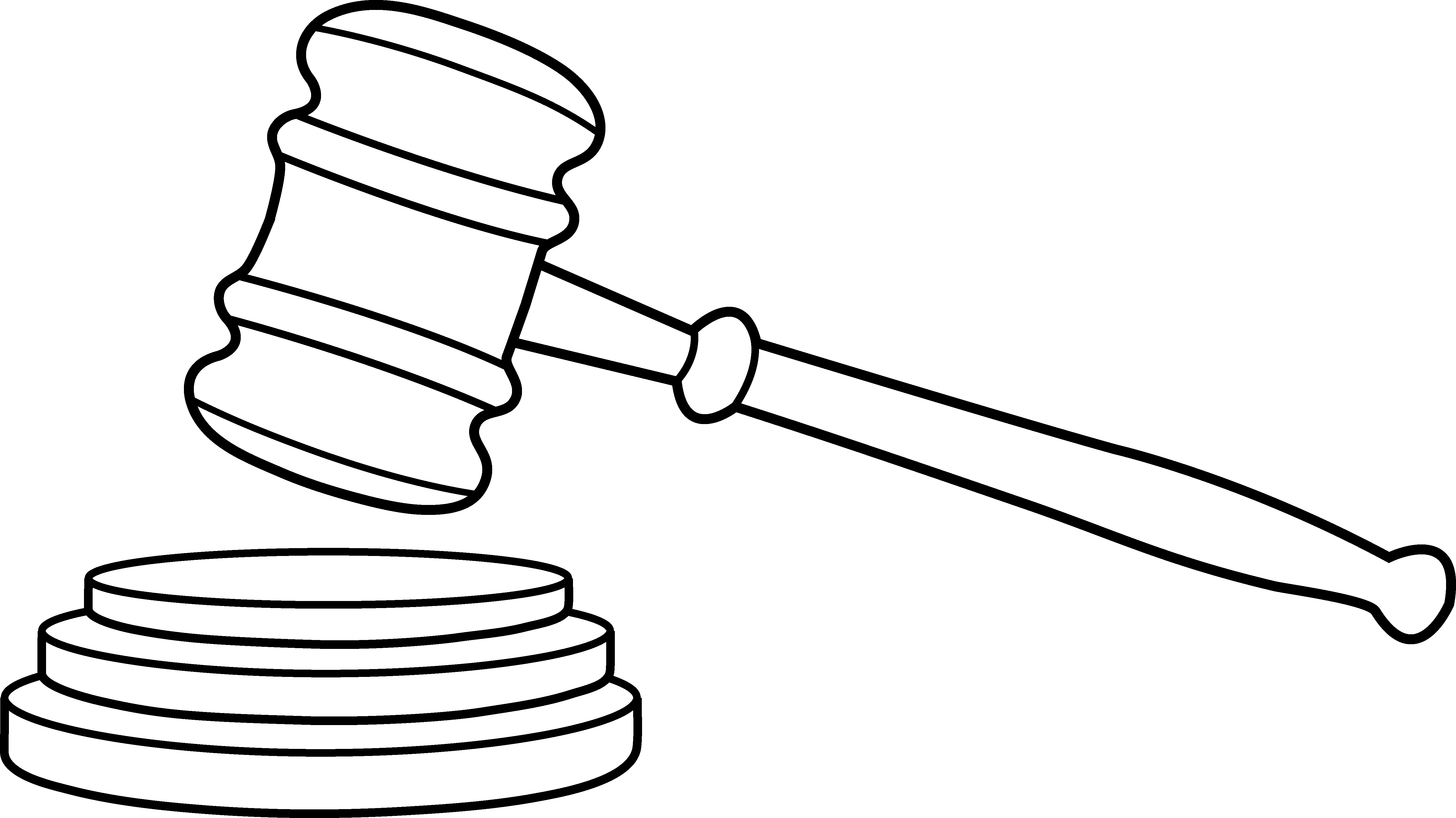 Court Gavel Line Art - Free Clip Art