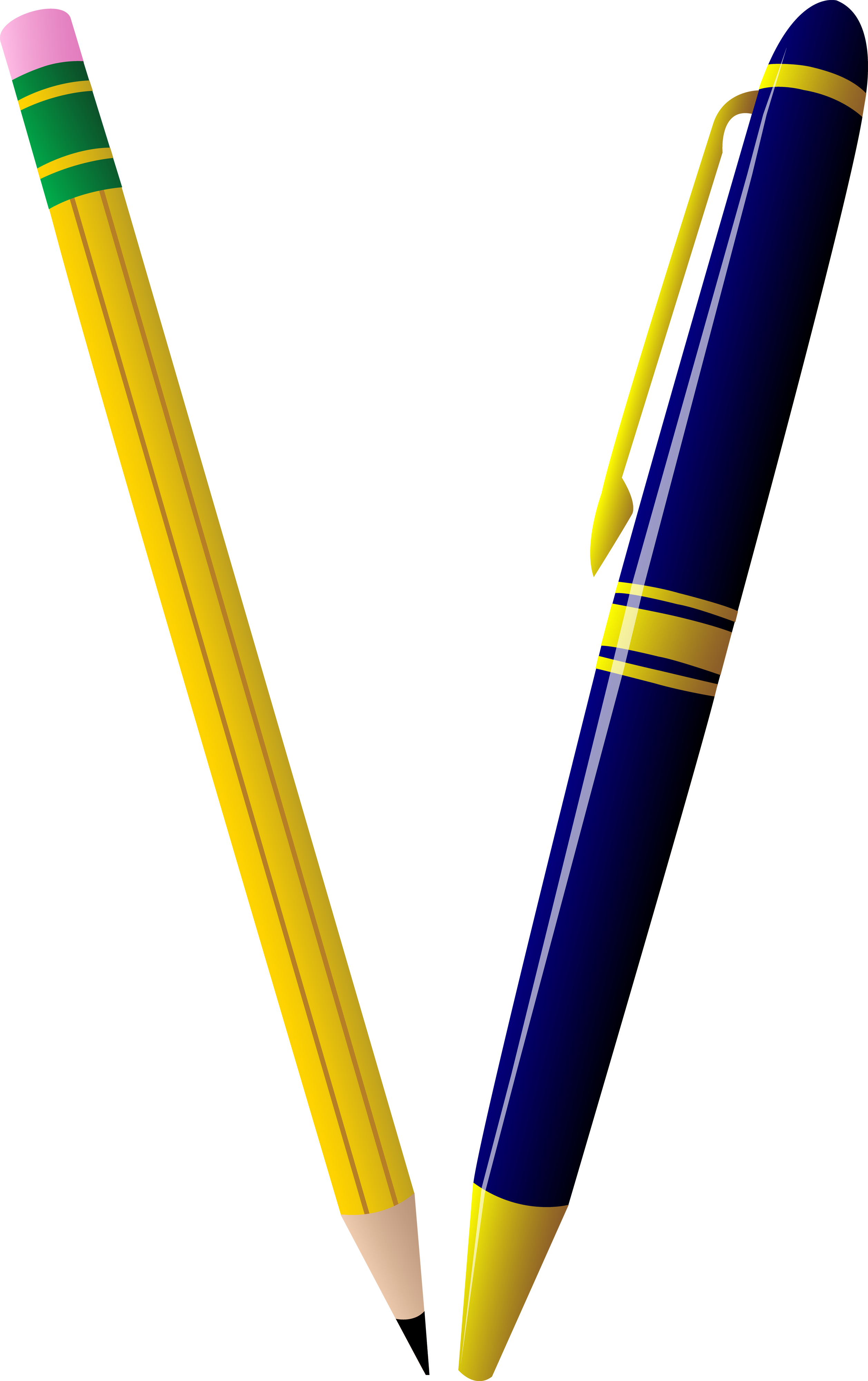 Pencil and Pen Duo - Free Clip Art