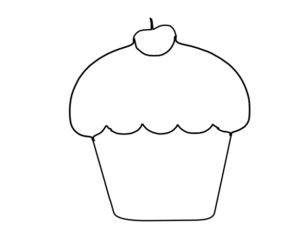 Cup Cake Outline clip art - vector clip art online, royalty free ...