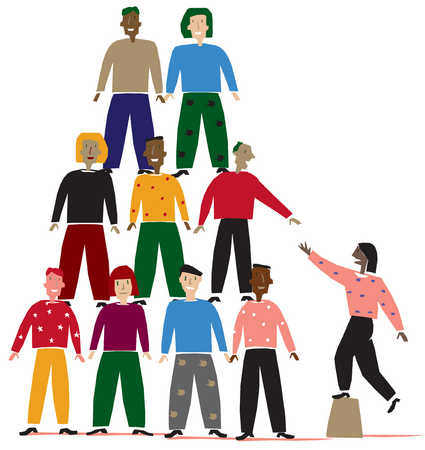 Stock Illustration - A group of people forming a pyramid
