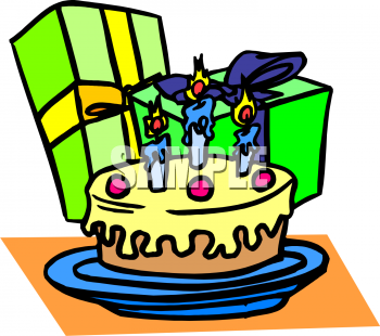 Clip Art Picture Of A Birthday Cake With Presents - foodclipart.