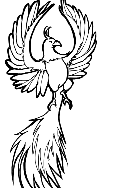 Art Therapy coloring page Fantastic animals : Phoenix 2 | 750x480