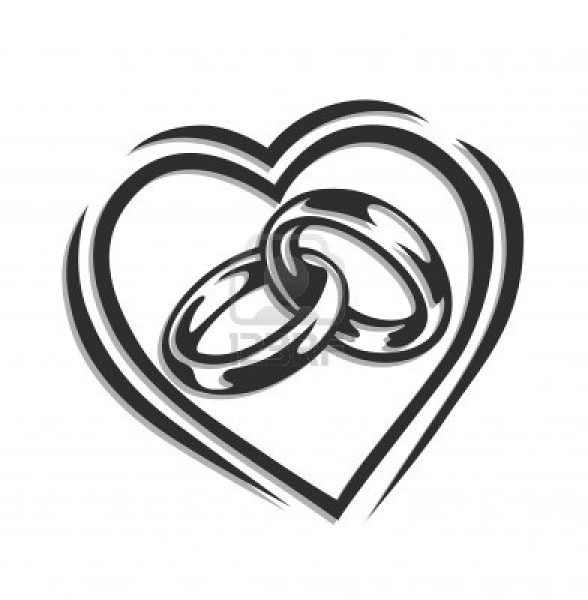 interlocking wedding rings clipart - photo #1