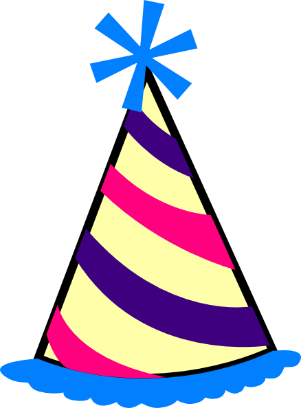 Birthday Hat (blue, Purple, Pink, Yellow) clip art - vector clip ...
