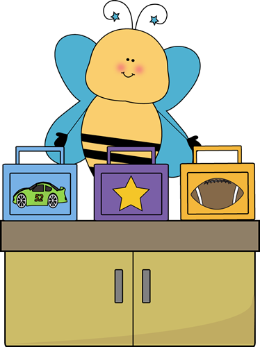 Bee Lunch Box Monitor Clip Art - Bee Lunch Box Monitor Vector Image