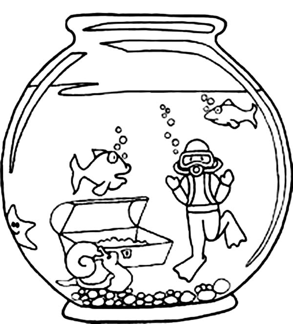 Fish Bowl Coloring Sheet