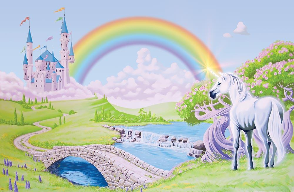 Unicorn And Princess Castle Canvas Print