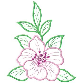 Outlines Embroidery Design: Hibiscus from Gunold