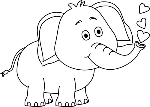 Black and White Elephant Blowing Hearts Clip Art - Black and White ...