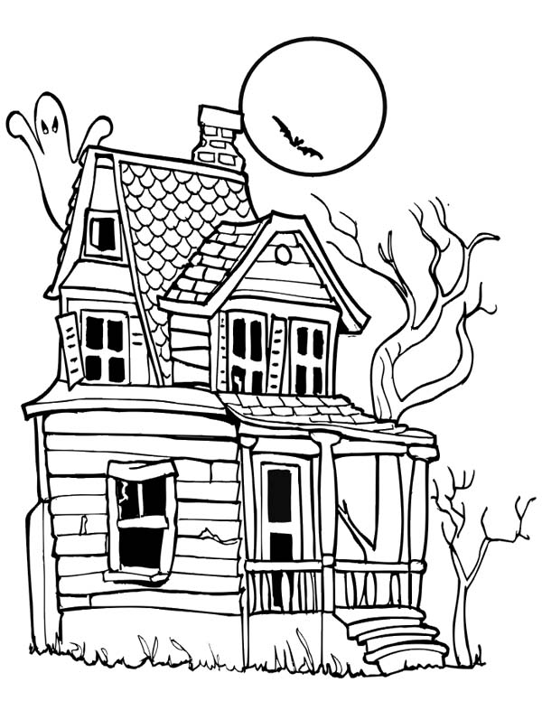 scary halloween house coloring pages - photo#7