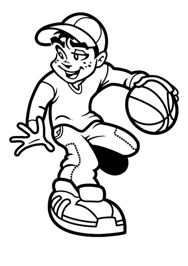 kid playing basketball coloring pages - photo#26