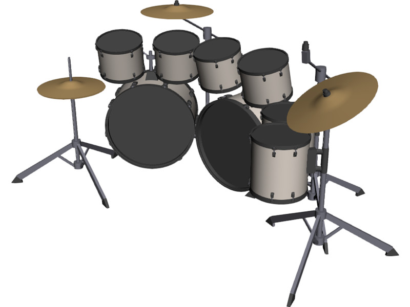 Drum Set Outline Drum Set 3d Model Download