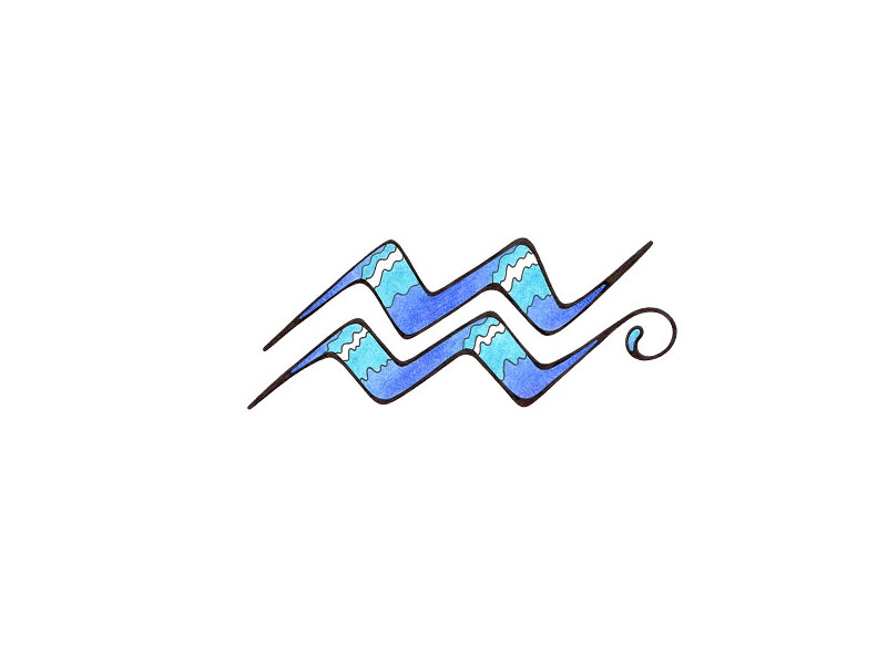Blue Ink Tribal Aquarius Tattoo Design
