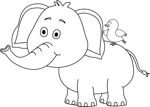 Black and White Elephant and Bird Clip Art - Black and White ...