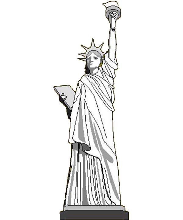 Coloring Book Page Of Statue Of Liberty