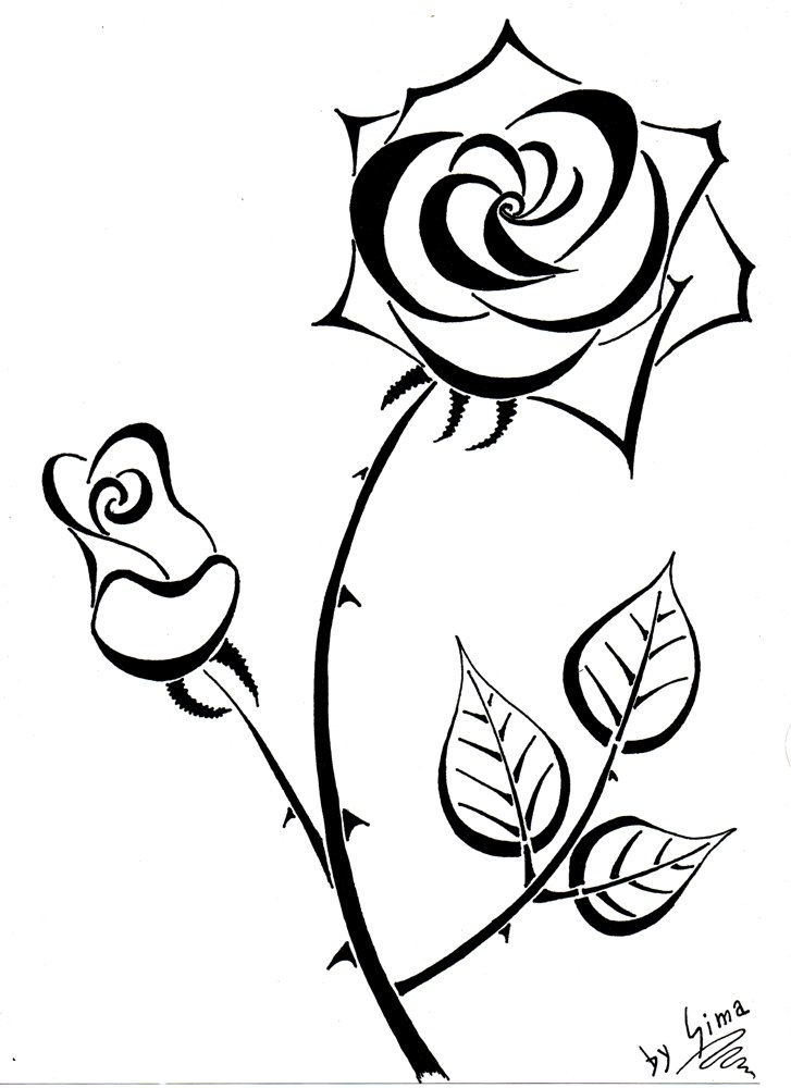 Line Art Rose : Line art rose cliparts