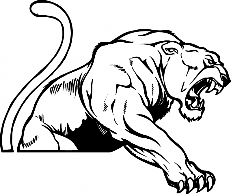 Panther mascot clip art use to create a logo decal