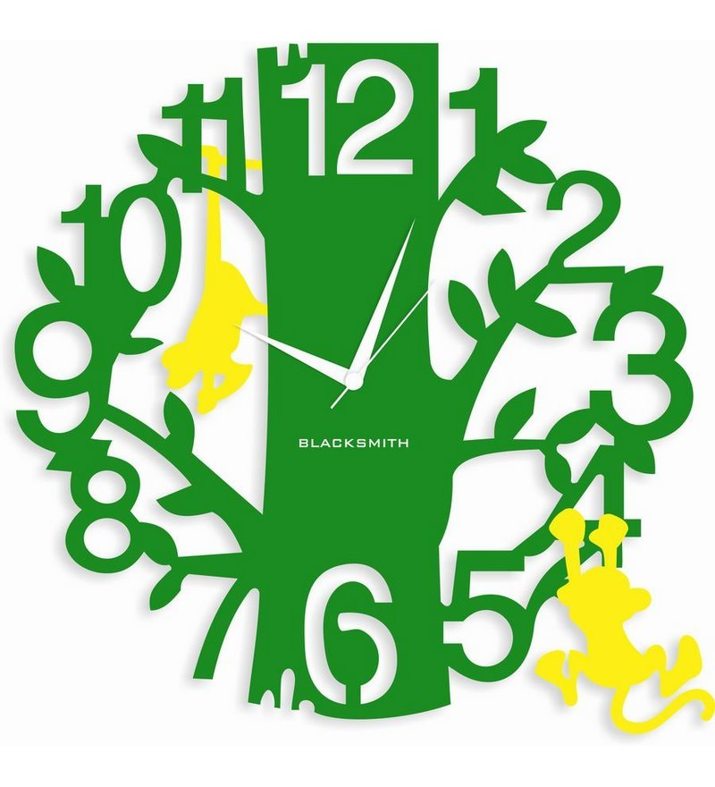 Blacksmith Parrot Green Yellow Monkey Hanging On A Tree Wall Clock ...