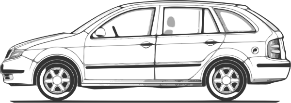 Cartoon Car Side View Outline
