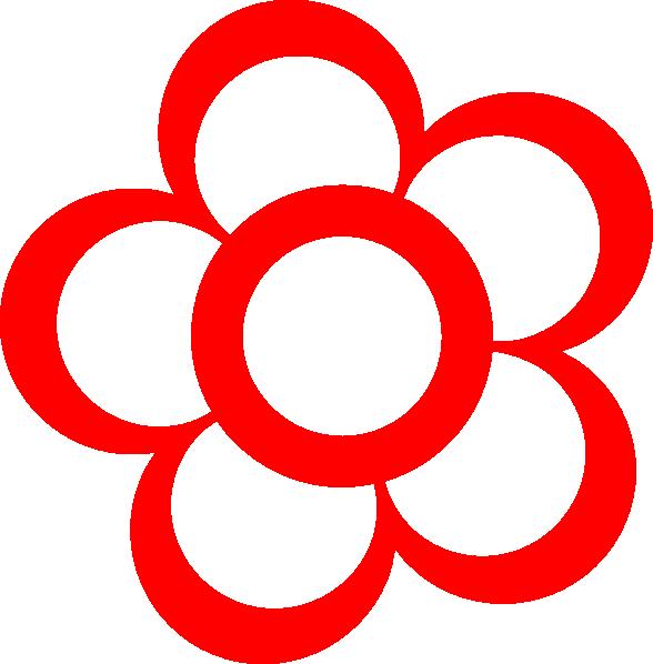 Red And White Flower Clip Art - Vector Clip Art Online