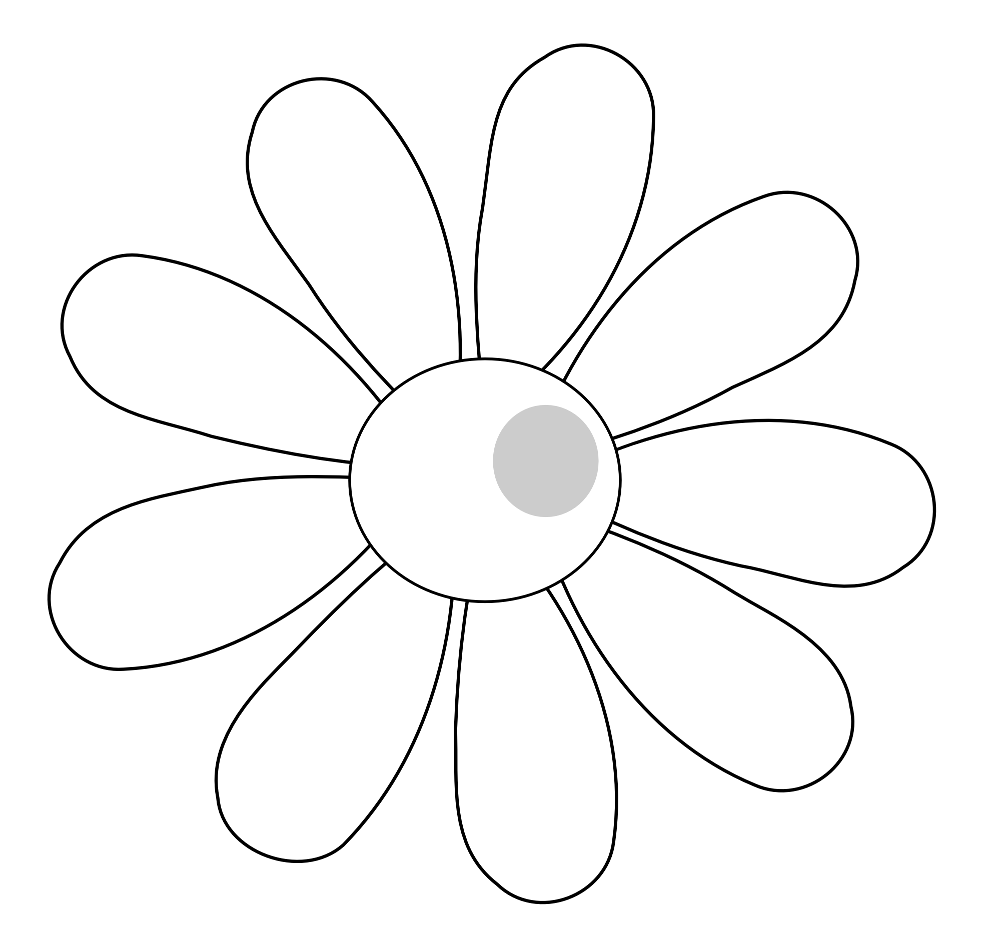 Simple Flower Outline Cliparts