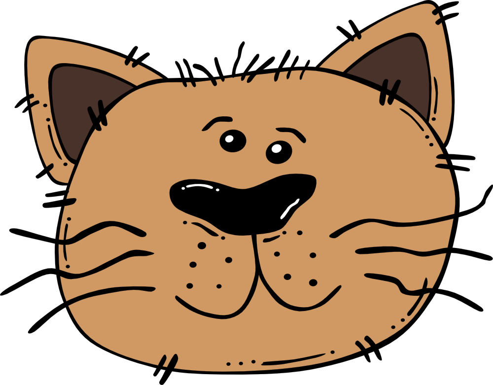 OnlineLabels Clip Art - Cartoon Cat Face