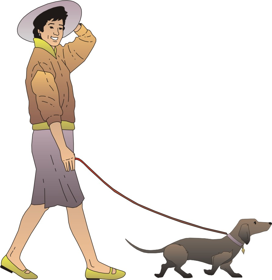 Picture Of Someone Walking A Dog