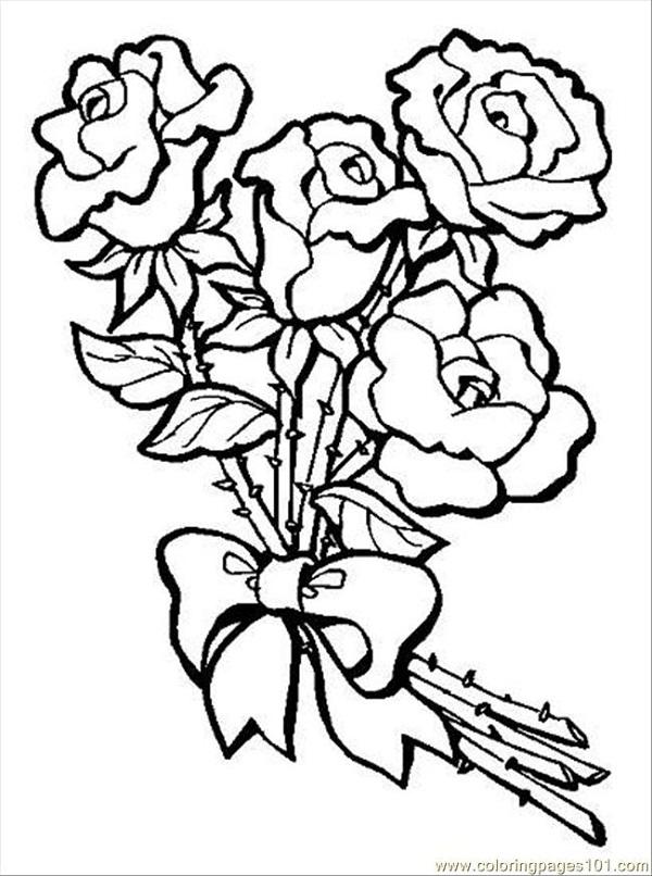 Rose bouquet c   Wedding Bouquet Coloring Pages