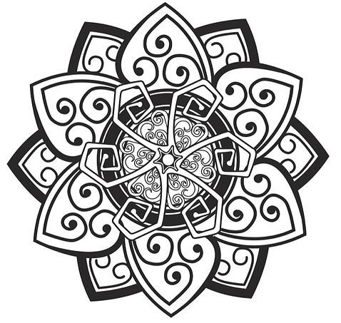 Эскиз тату солнца объединенного с лотосом
