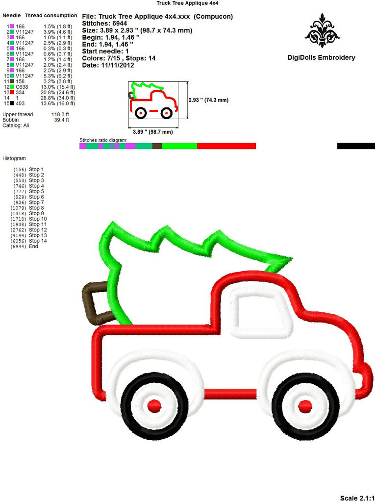 Christmas Tree Truck Applique | Digitizing Dolls Embroidery